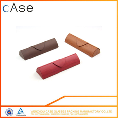 Triangle easying carrying handmade leather eyeglasses storage case tube