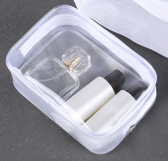 Environmentally friendly PVC cosmetic bag transparent waterproof travel pocket portable three-dimensional cosmetic bag zipper jelly PVC bag