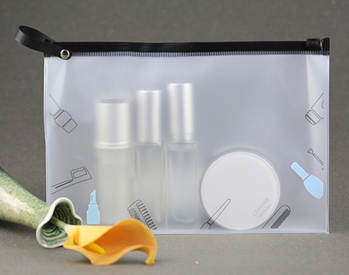 Environmental protection EVA cosmetic bag zipper frosted plastic handbag portable multi-functional waterproof wash bag travel receipt bag