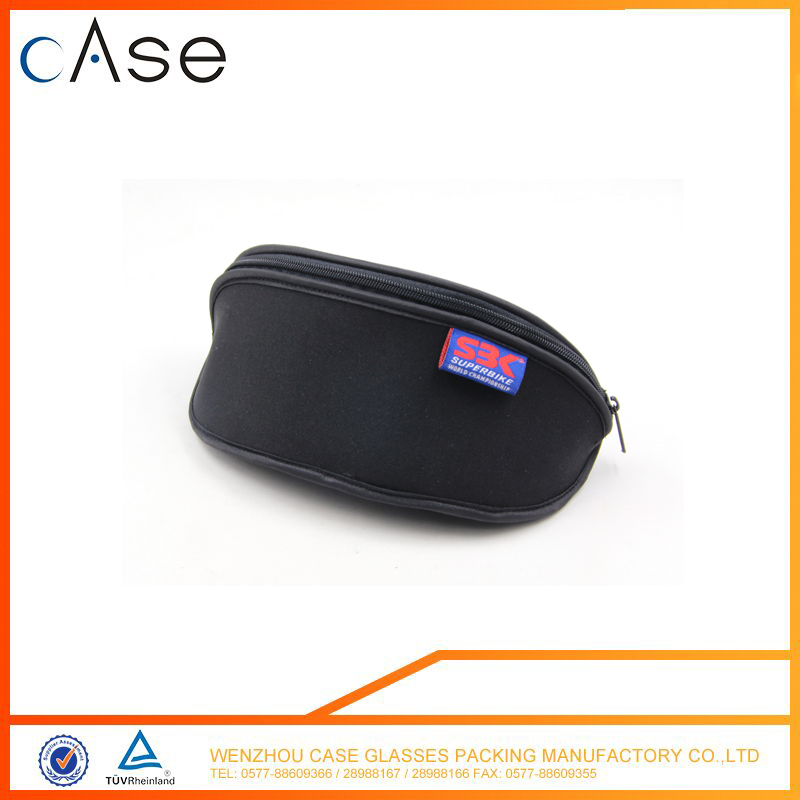 Promotional custom soft round zipper bag neoprene mini spectacles case