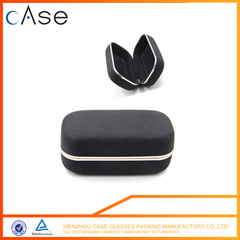 I6145 WenZhou Black canvas personalized sunglasses case with metal strip CASE