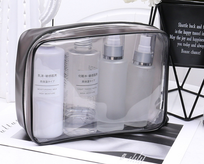 Pvc cosmetic bag transparent zipper cosmetic bag three-dimensional waterproof pvc bag portable multi-function travel storage bag