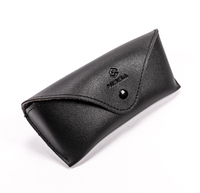 2021 Glasses case A black glasses case with a LOGO printed on it looks like a wallet