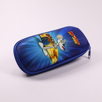 2021 Glasses Case A blue, cartoon-printed, zip-end case for sunglasses