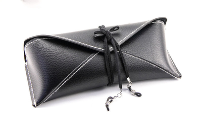 2021 Glasses Case Sunglasses Are Black And Look Like A Leather Wallet And Have A String To Tie It Tight