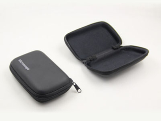 Black PU rectangle EVA eyeglasses case with logo H104