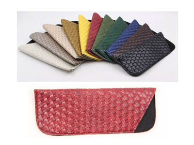 Colorful oblique chequer pattern glasses pouch F72